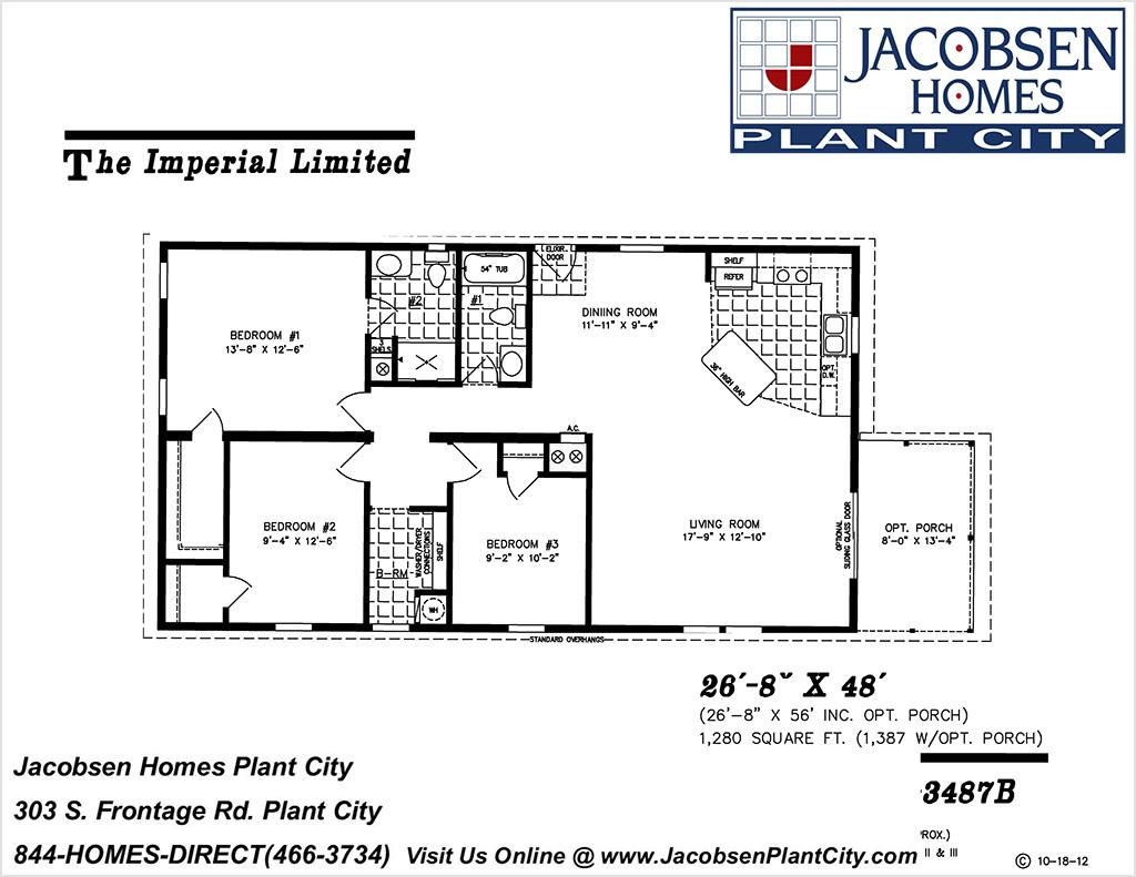 IMLT-3487B Mobile Home Floor Plan - Jacobsen Mobile Homes ... on 26 x 40 home plans, 30 x 30 home plans, 20 x 20 home plans,