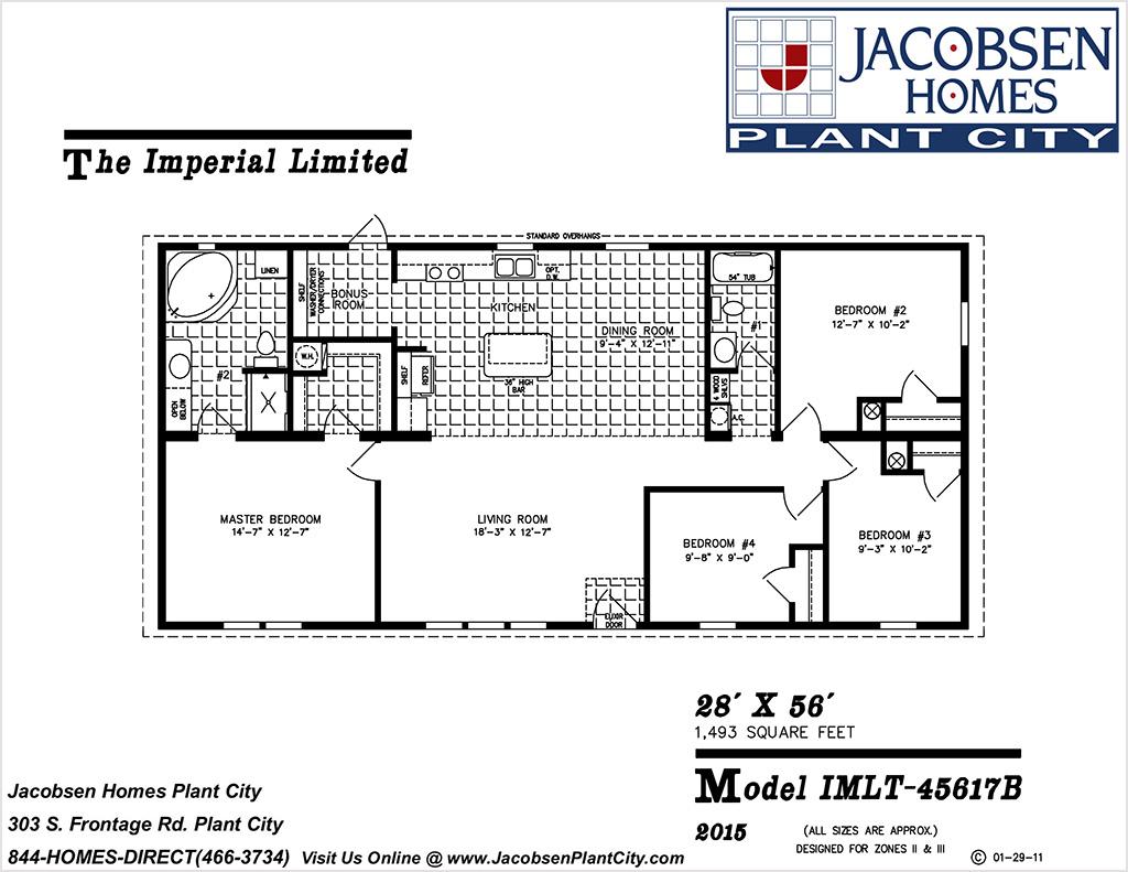 IMLT-45617B Mobile Home Floor Plan - Jacobsen Mobile Homes - Plant on 28 x 56 mobile home, 24 x 56 mobile home, 16 x 56 mobile home, 28x60 mobile home, 24 x 48 mobile home,